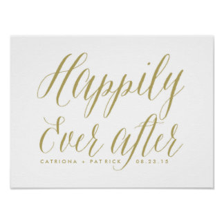Happily Ever After Wedding Poster | Gold