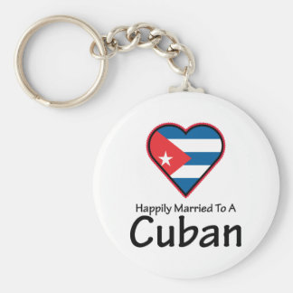Happily Married Cuban Basic Round Button Key Ring