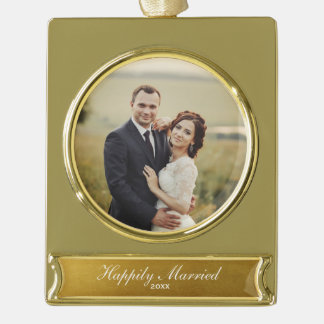Happily Married Elegant Gold Newlywed Photo Gold Plated Banner Ornament