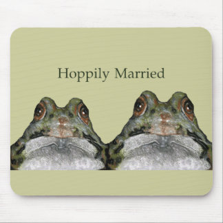 Happily Married (Hoppily) Two Frogs, Cute Mouse Pad