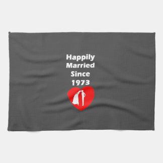 Happily Married Since 1973 Tea Towel
