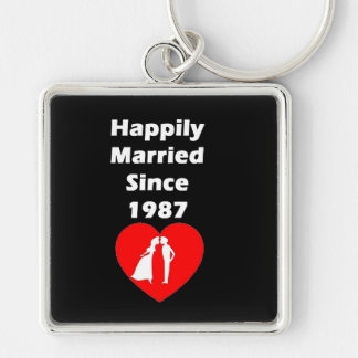Happily Married Since 1987 Key Ring