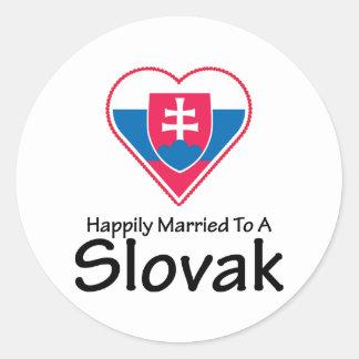 Happily Married Slovak Round Sticker