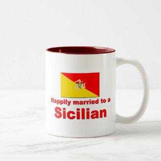 Happily Married to a Sicilian Two-Tone Mug