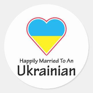 Happily Married Ukrainian Classic Round Sticker