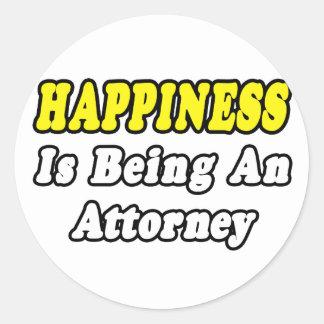 Happiness...Attorney Round Sticker