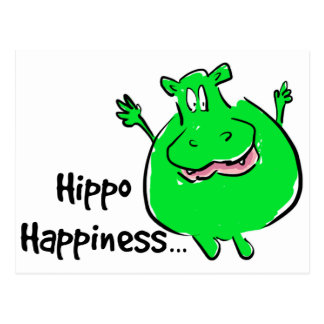 Happiness Hippo - post card