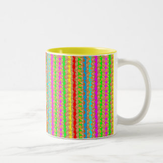 HAPPINESS in COLOR: Smiling Stripes on Golden Base Mugs