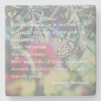Happiness is a Butterfly - Inspiring Quote Stone Coaster