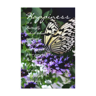 Happiness is a Butterfly Typography Garden Quote Canvas Prints