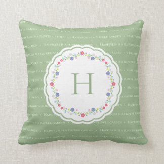 Happiness is a Garden Shakespeare Quote Monogram Cushion