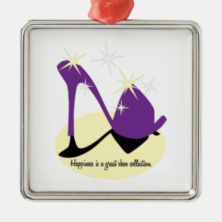 Happiness Is A Great Shoe Collection Silver-Colored Square Decoration