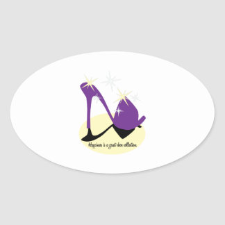 Happiness Is A Great Shoe Collection Oval Sticker
