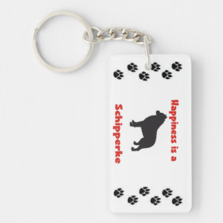 Happiness is a Schipperke Single-Sided Rectangular Acrylic Key Ring