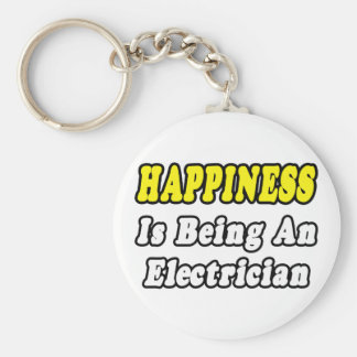 Happiness Is Being an Electrician Basic Round Button Key Ring