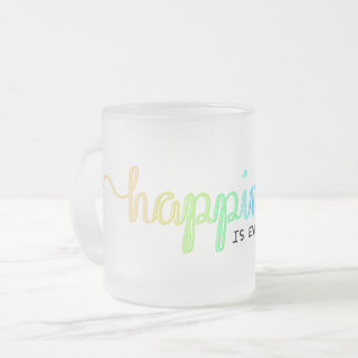 Happiness is Everywhere Frosted Glass Coffee Mug