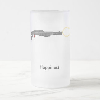 Happiness is... frosted glass beer mug