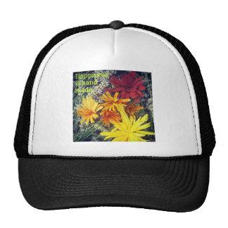 Happiness is handmade wooden flowers cap