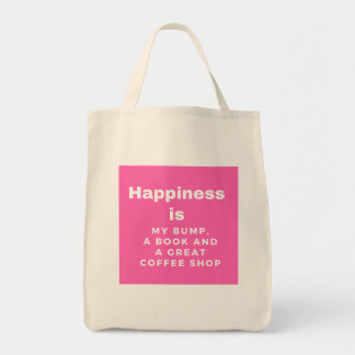 Happiness is my bump, a book and a coffee shop bag
