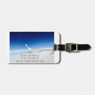 Happiness is plane ticket luggage tag