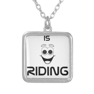 Happiness Is Riding My Bike Silver Plated Necklace