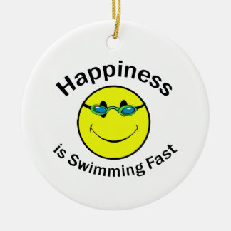 Happiness is Swimming Fast Ceramic Ornament