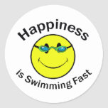 Happiness is Swimming Fast Classic Round Sticker