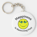 Happiness is Swimming Fast Keychains