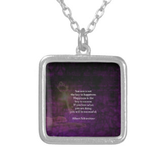 Happiness Is The Key To Success Uplifting Quote Silver Plated Necklace