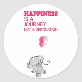 Happiness is to journey classic round sticker