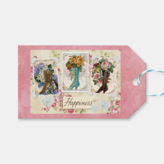 Happiness is Victorian Steampunk Boots Gift Tags