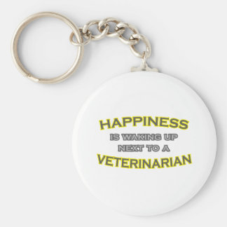 Happiness Is Waking Up .. Veterinarian Basic Round Button Key Ring