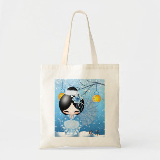 Happiness Kokeshi Doll, in her winter scene Tote Bag