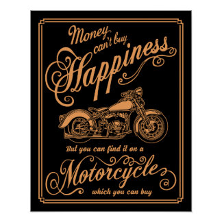 Happiness - Motorcycle Poster