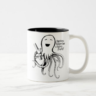 Happiness Octopus has a Bunny Friend Two-Tone Mug