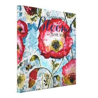 Happiness Poppies Watercolor Canvas Print 10x10
