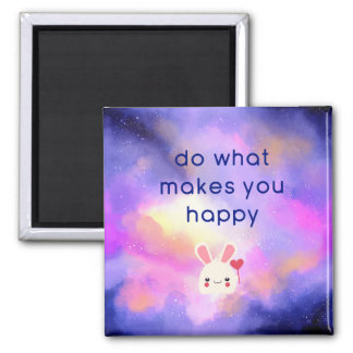 Happiness Quote with Surreal Clouds and a Bunny Magnet