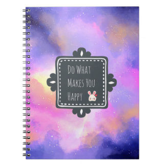 Happiness Quote with Surreal Clouds and a Bunny Notebooks