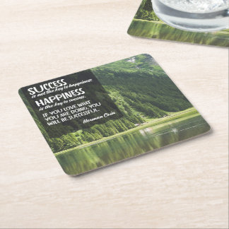 Happiness The Key To Success Square Paper Coaster