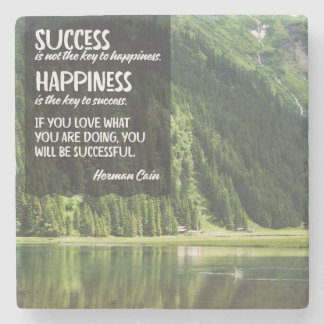 Happiness The Key To Success Stone Coaster