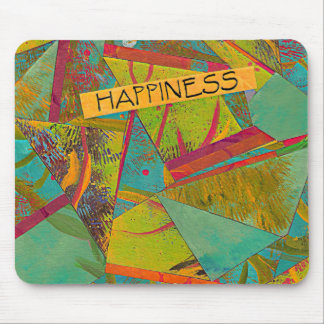Happiness triangles collage mouse pad
