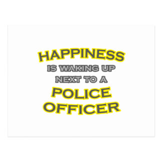 Happiness .. Waking Up .. Police Officer Postcard