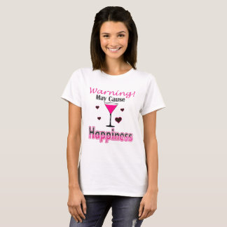 Happiness Wine Drinking Ladies T Shirt