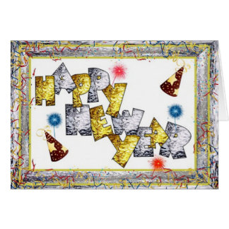 Happpy New Year in Stained Glass Card