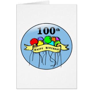 Happy 100th Birthday ballons Card