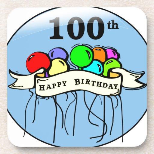 Happy 100th Birthday ballons Drink Coasters