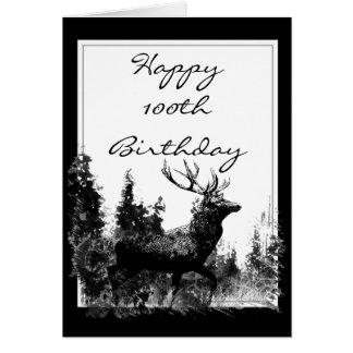 Happy 100th Birthday Custom Vintage Stag, Deer Card