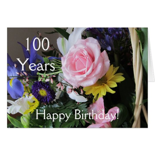 Happy 100th Birthday! Pink Rose Bouquet Card