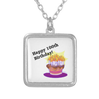 Happy 100th Birthday Silver Plated Necklace