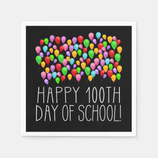 Happy 100th Day of School 100 Balloons Teacher Disposable Serviettes